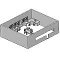 Sala de aula em 3D.