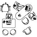 Móveis e equipamentos para escritório: mesas (trabalho, atendimento, reuniões), poltronas, telefones, etc.