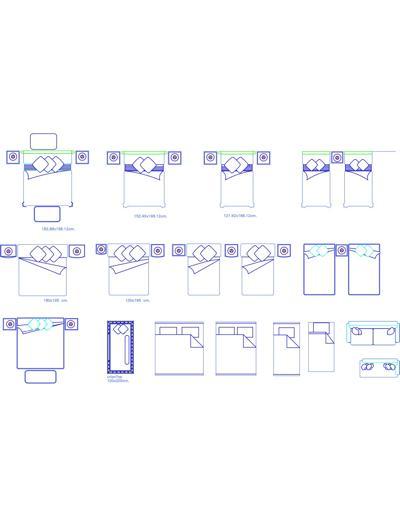 Camas de casal e camas de solteiro com roupas de cama em for Cama 3d autocad