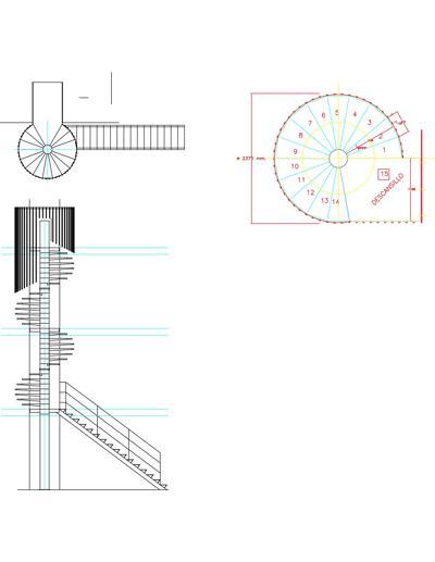 Bloco Com Escada Caracol Helicoidal Em Planta E Corte Detalhes