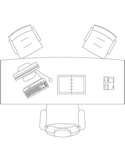 Mesa de escrit rio com cadeira e acess rios 3 for Mobiliario oficina dwg